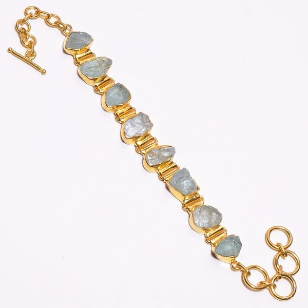 Aquamarine Raw Gemstone 925 Sterling Silver Gold Plated Bracelet