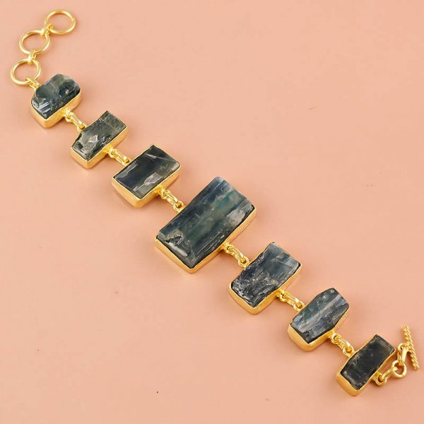 Blue Kyanite Raw Gemstone 925 Sterling Silver Gold Plated Bracelet