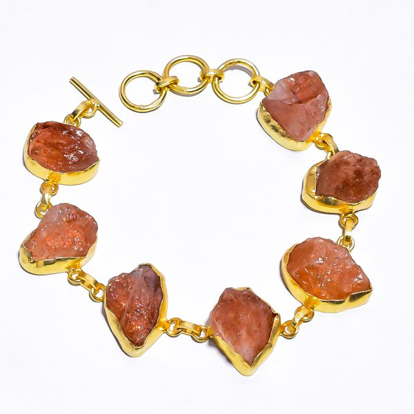 Sunstone Raw Gemstone 925 Sterling Silver Gold Plated Bracelet