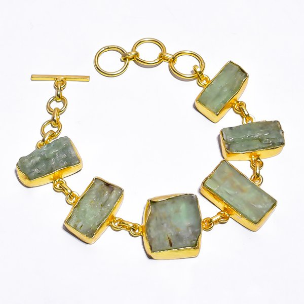 Green Kyanite Raw Gemstone 925 Sterling Silver Gold Plated Bracelet