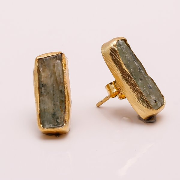 Green Kyanite Raw Gemstone 925 Sterling Silver Gold Plated Stud Earrings