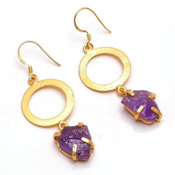 Amethyst  Raw Gemstone 925 Sterling Silver Gold Plated Earrings
