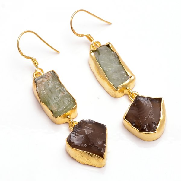 Green Kyanite Smoky  Raw Gemstone 925 Sterling Silver Gold Plated Earrings