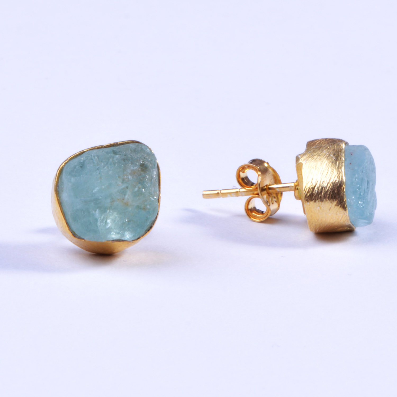 Raw Aquamarine 925 Sterling Silver Gold Plated Stud Earrings