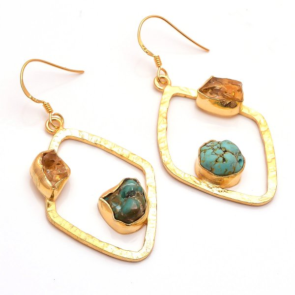 Citrine Turquoise Raw Gemstone 925 Sterling Silver Gold Plated Earrings