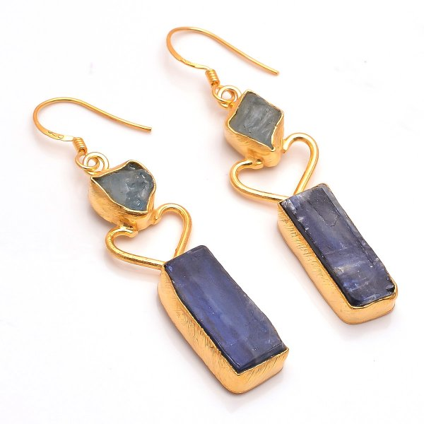 Kyanite, Aquamarine  Raw Gemstone 925 Sterling Silver Gold Plated Earrings