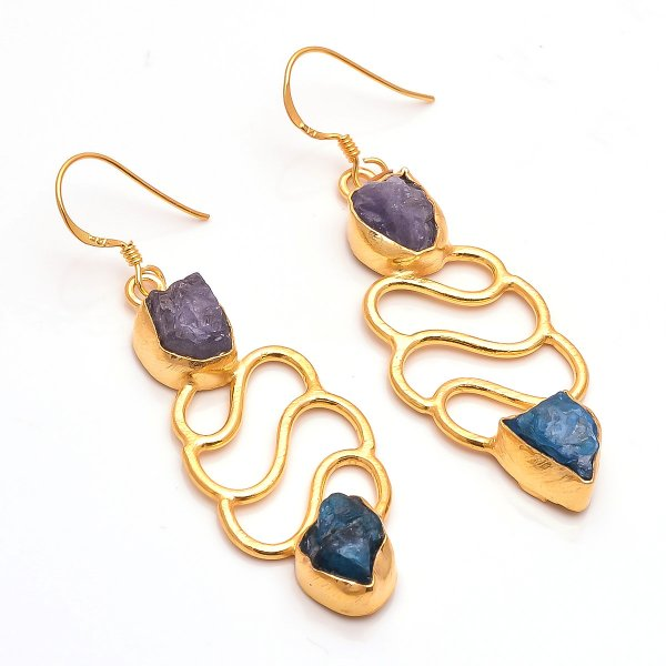 Neon Apatite Tanzanite Raw Gemstone 925 Sterling Silver Gold Plated Earrings