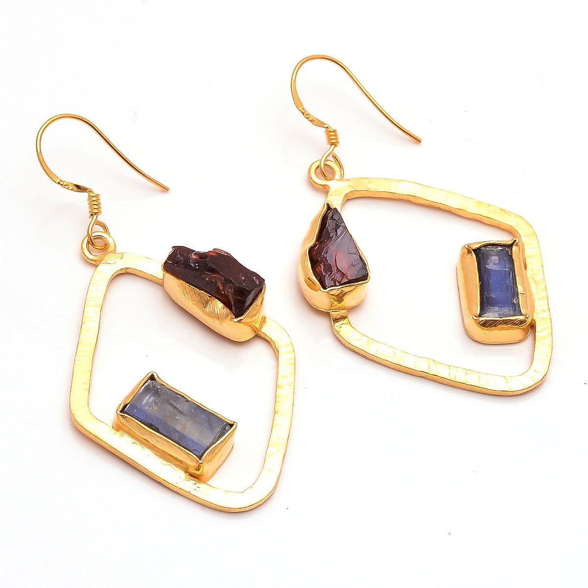 Kyanite Garnet Raw Gemstone 925 Sterling Silver Gold Plated Earrings