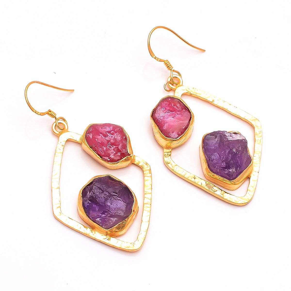 Amethyst Corundum Ruby Raw Gemstone 925 Sterling Silver Gold Plated Earrings