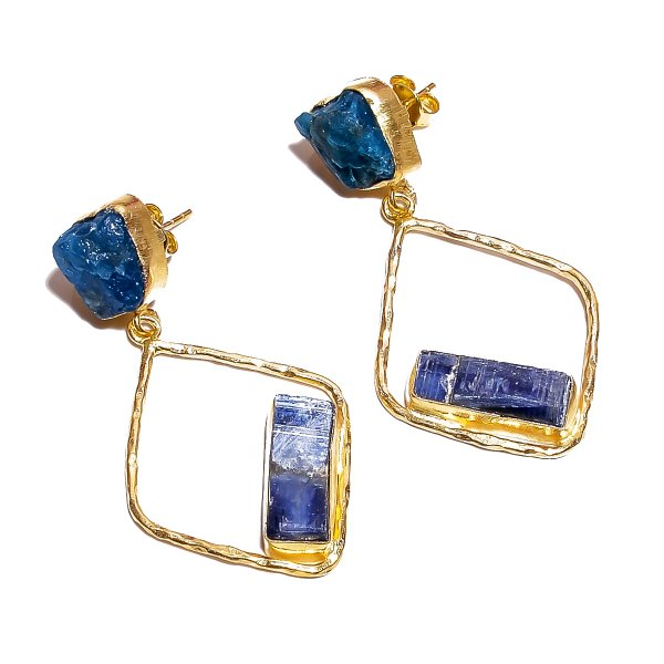 Neon Apatite Kyanite Raw Gemstone 925 Sterling Silver Gold Plated Earrings