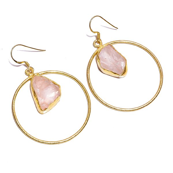 Rose Quartz Raw Gemstone 925 Sterling Silver Gold Plated Earrings