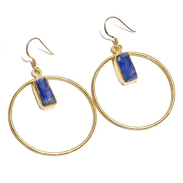 Kyanite Raw Gemstone 925 Sterling Silver Gold Plated Earrings