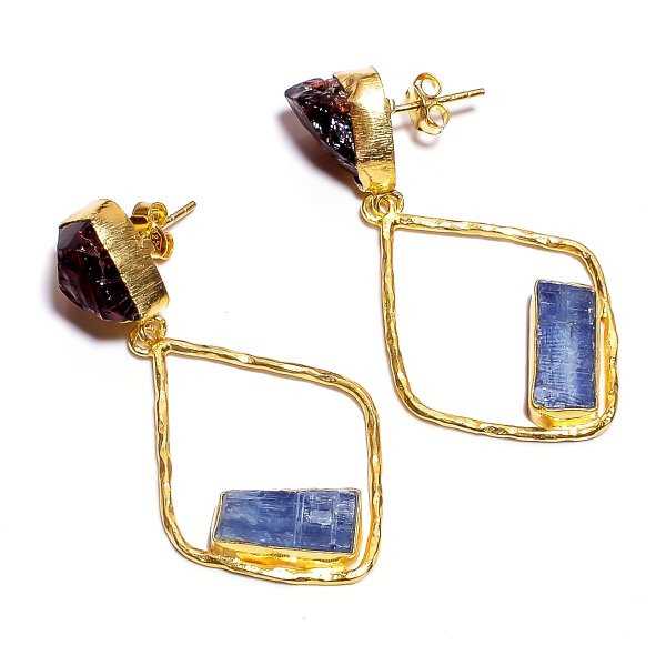 Garnet Kyanite Raw Gemstone 925 Sterling Silver Gold Plated Earrings