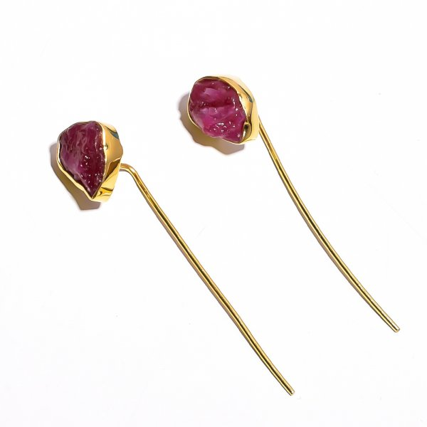 Corundum Ruby Raw Gemstone 925 Sterling Silver Gold Plated Earrings