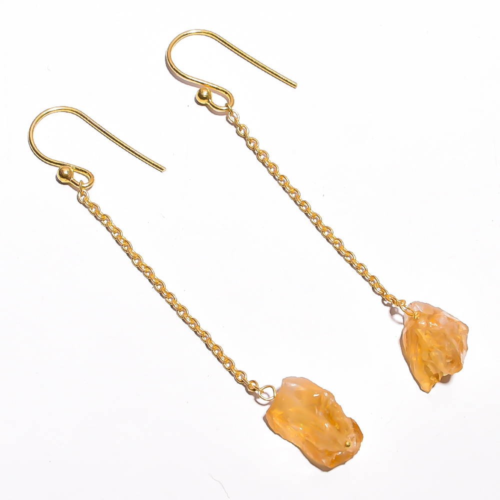 Citrine Raw Gemstone 925 Sterling Silver Gold Plated Earrings
