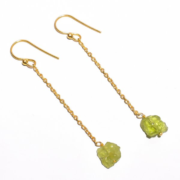 Peridot Raw Gemstone 925 Sterling Silver Gold Plated Earrings