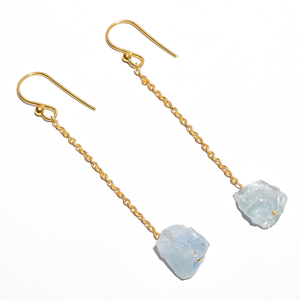 Aquamarine Raw Gemstone 925 Sterling Silver Gold Plated Earrings