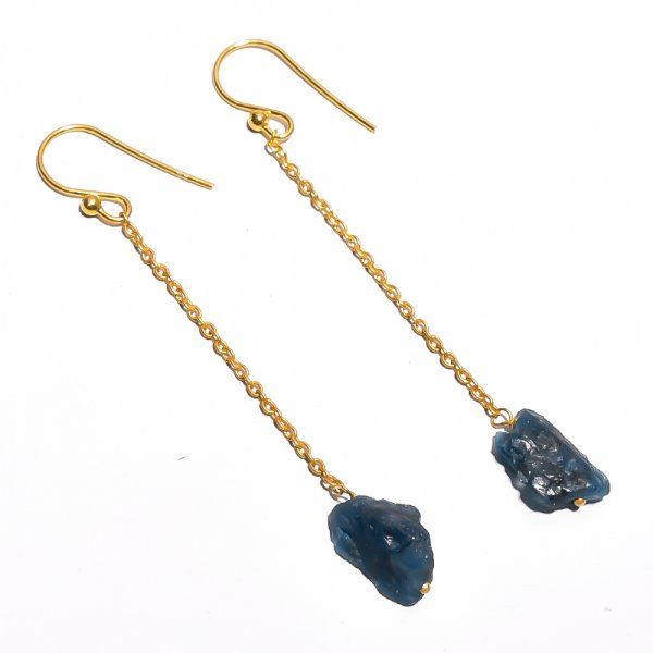 Neon Apatite Raw Gemstone 925 Sterling Silver Gold Plated Earrings