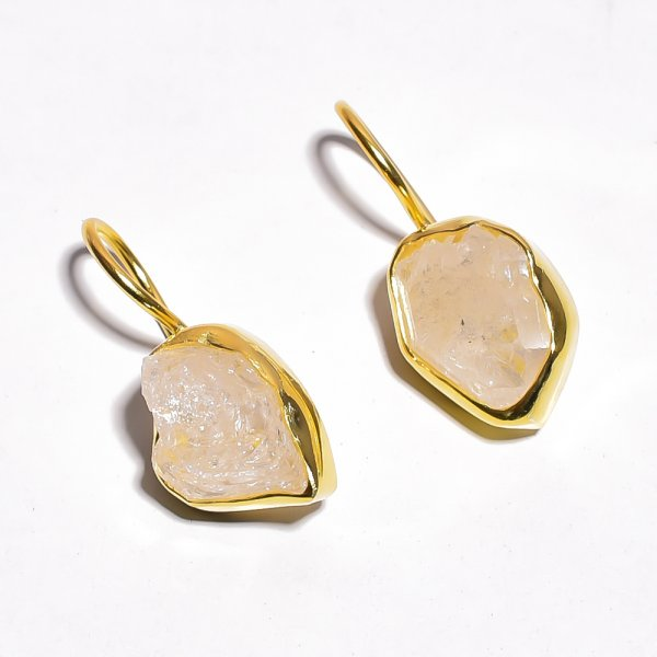 Raw Herkimer Diamond 925 Sterling Silver Gold Plated Earrings