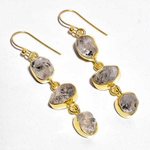 Herkimer Daimond Raw Gemstone 925 Sterling Silver Gold Plated Earrings