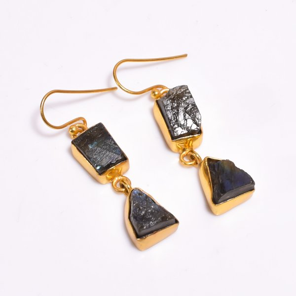 Labradorite Raw Gemstone 925 Sterling Silver Gold Plated Earrings
