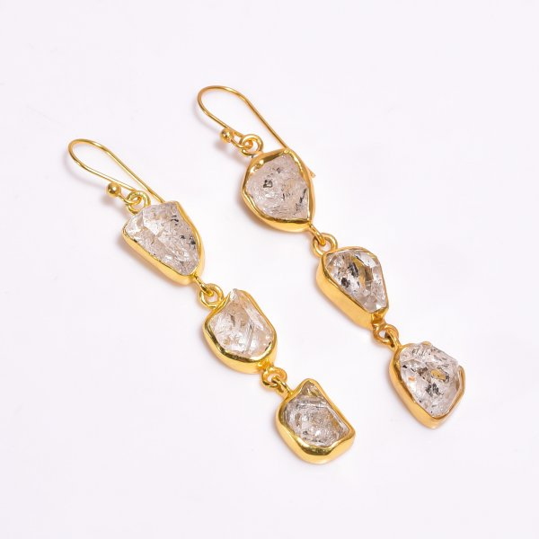 Raw Herkimer Daimond 925 Sterling Silver Gold Plated Earrings