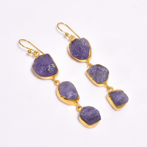 Tanzanite Raw Gemstone 925 Sterling Silver Gold Plated Earrings