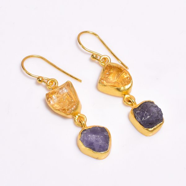 Raw Citrine Tanzanite Gemstone 925 Sterling Silver Gold Plated Earrings