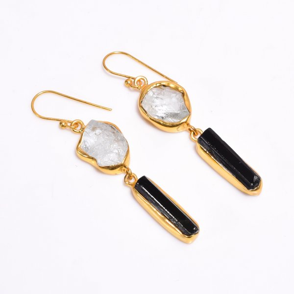 Raw Aquamarine Black Tourmaline  Gemstone 925 Sterling Silver Gold Plated Earrings
