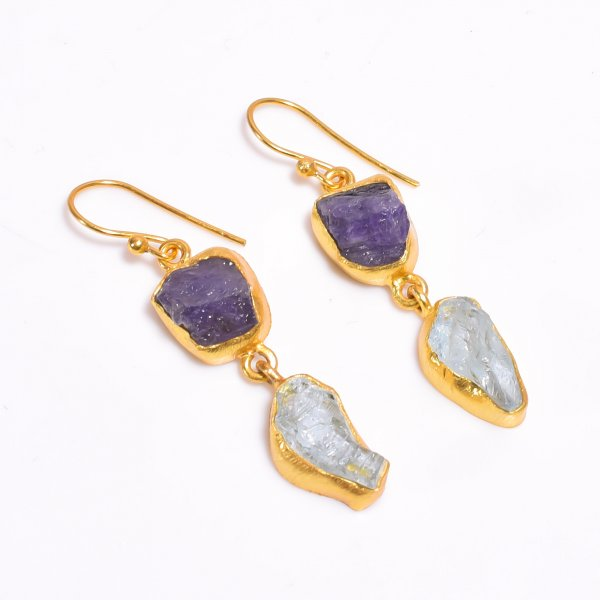 Raw Tanzanite Aquamarine Gemstone 925 Sterling Silver Gold Plated Earrings
