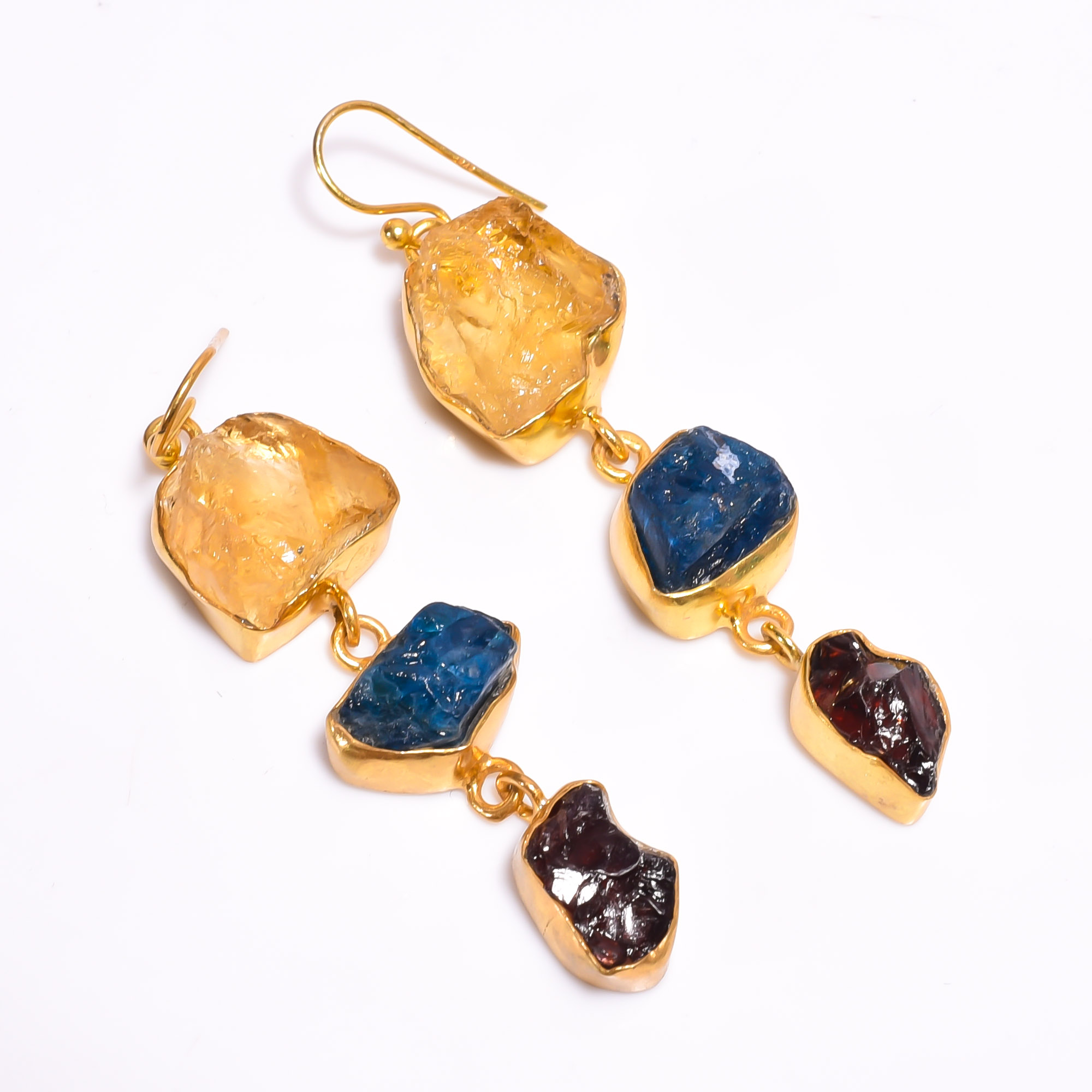 Raw Citrine Neon Apatite Gemstone 925 Sterling Silver Gold Plated Earrings