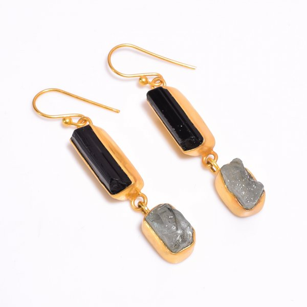 Raw Black Tourmaline Aquamarine Gemstone 925 Sterling Silver Gold Plated Earrings