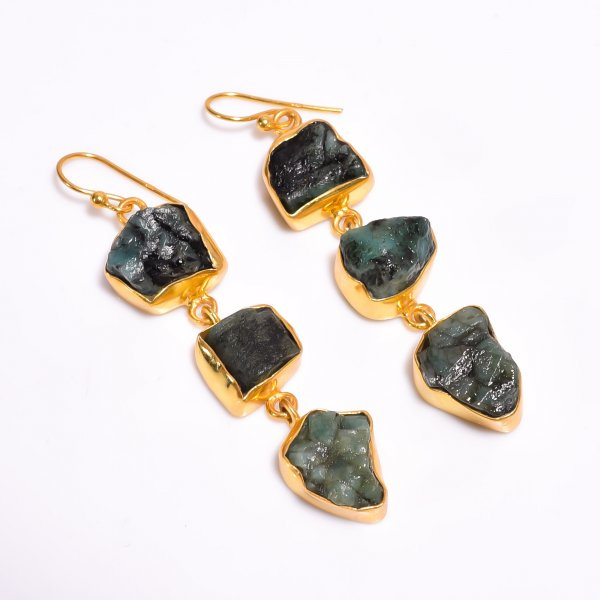 Emerald Raw Gemstone 925 Sterling Silver Gold Plated Earrings