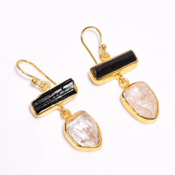 Raw Black Tourmaline Herkimer Diamond 925 Sterling Silver Gold Plated Earrings