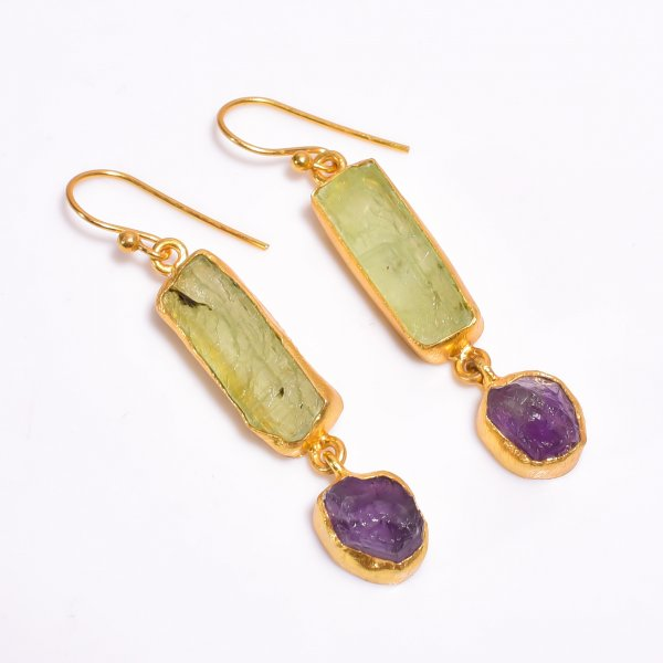 Raw Green Kyanite Amethyst Gemstone 925 Sterling Silver Gold Plated Earrings