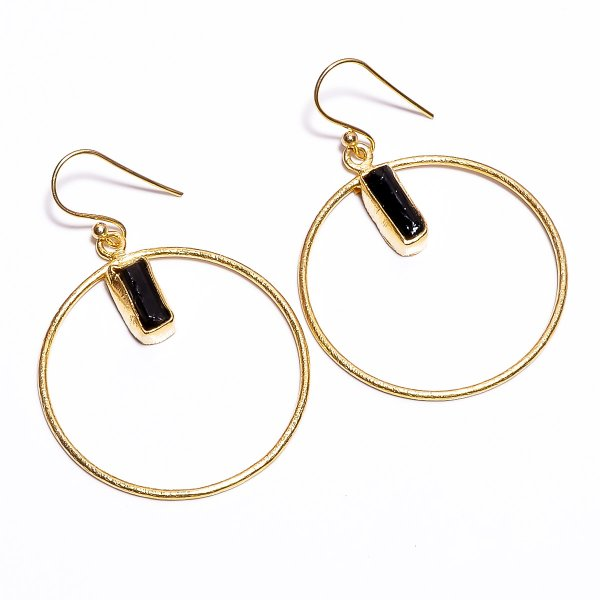 Black Tourmaline Raw Gemstone 925 Sterling Silver Gold Plated Earrings