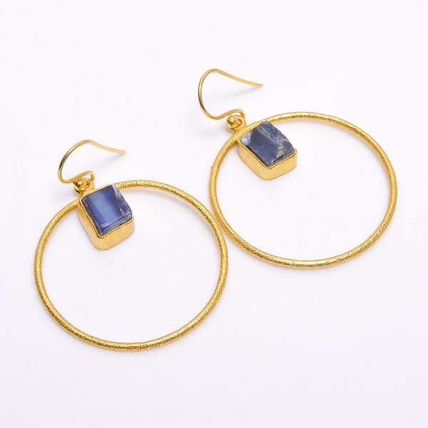 Blue Kyanite Raw Gemstone 925 Sterling Silver Gold Plated Earrings