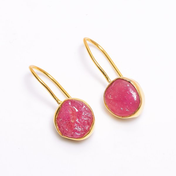 Ruby Raw Gemstone 925 Sterling Silver Gold Plated Earrings