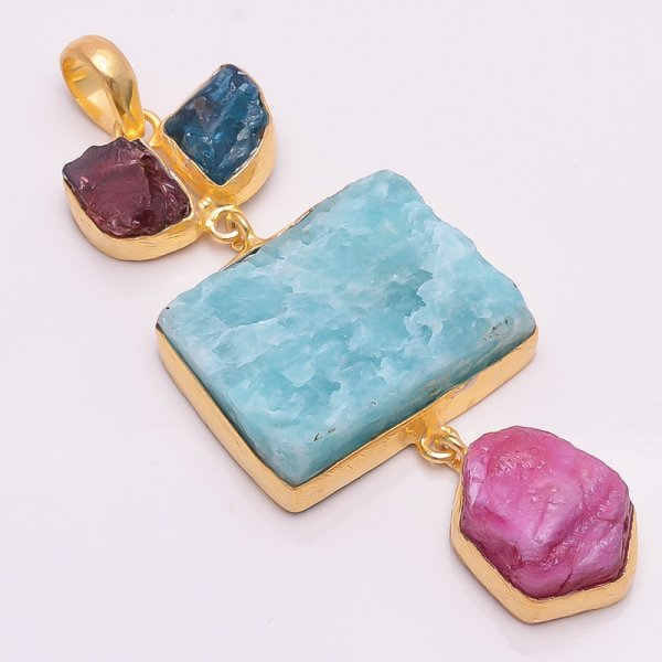 Amazonite Corundum Ruby Raw Gemstone 925 Sterling Silver Gold Plated Pendant