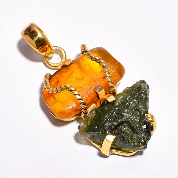 Moldavite Amber Raw Gemstone 925 Sterling Silver Gold Plated Pendant