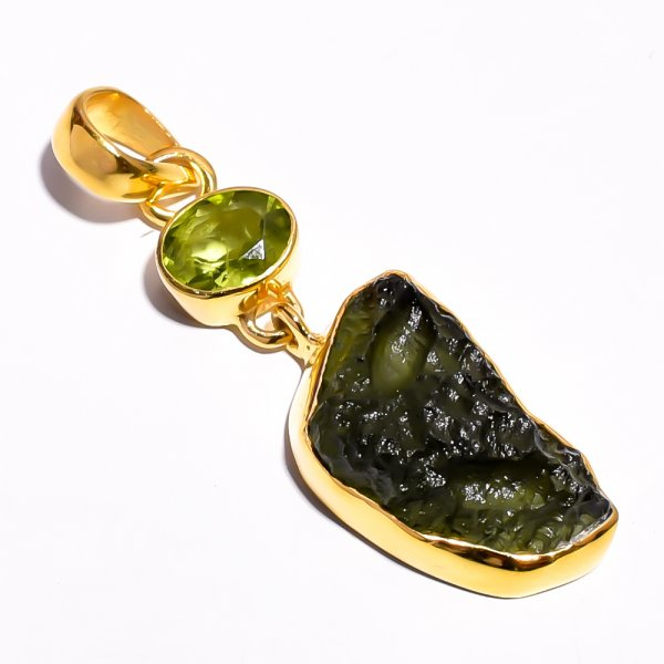 Moldavite Peridot Raw Gemstone 925 Sterling Silver Gold Plated Pendant