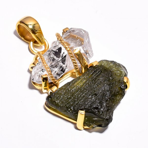 Moldavite Herkimer Diamond Raw Gemstone 925 Sterling Silver Gold Plated Pendant
