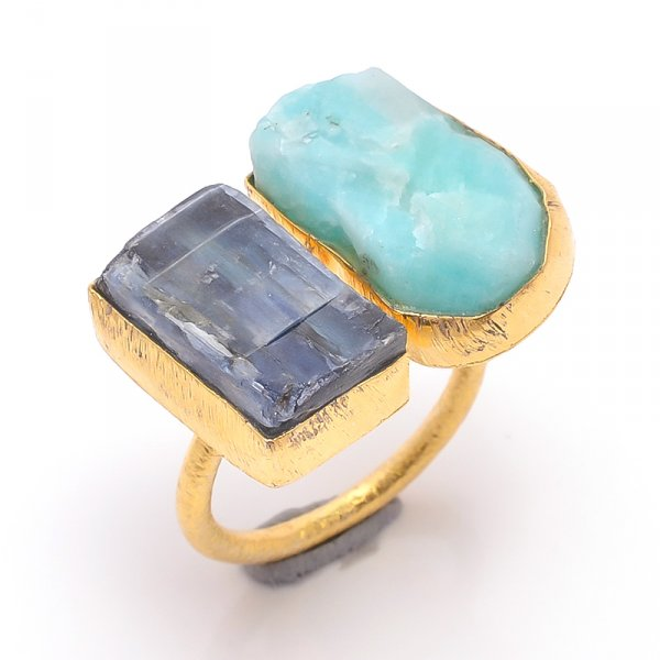 Amazonite Kyanite Raw Gemstone 925 Sterling Silver Gold Plated Ring Size 7 Adjustable