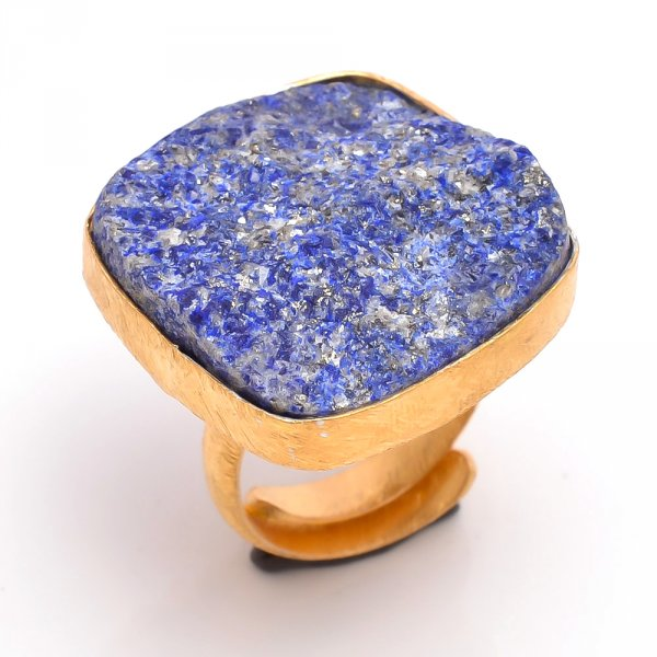 Lapis Raw Gemstone 925 Sterling Silver Gold Plated Ring Size 5.5 Adjustable