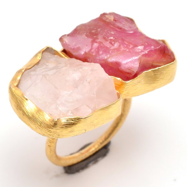 Ruby Rose Quartz Raw Gemstone 925 Sterling Silver Gold Plated Ring Size 7 Adjustable