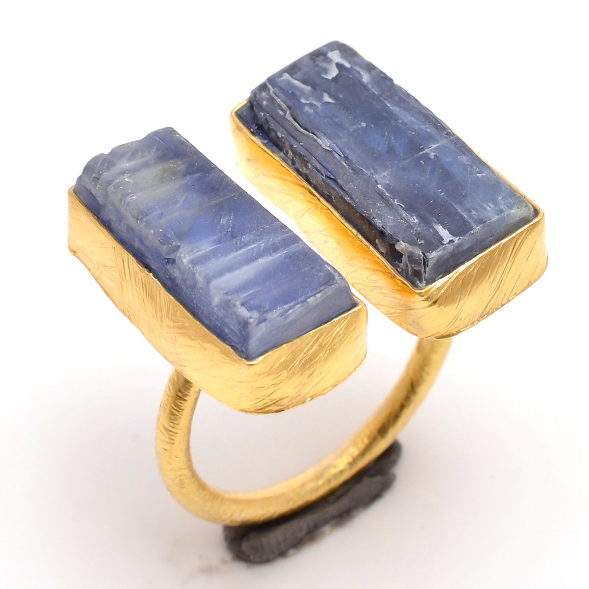 Kyanite Raw Gemstone 925 Sterling Silver Gold Plated Ring Size 6 Adjustable