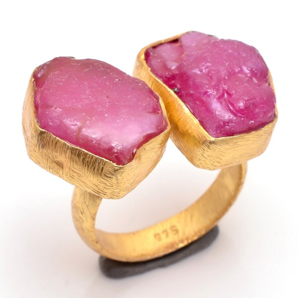 Corundum Ruby Raw Gemstone 925 Sterling Silver Gold Plated Ring Size 7 Adjustable