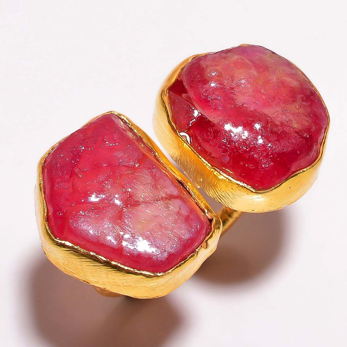 Corundum Ruby Raw Gemstone 925 Sterling Silver Gold Plated Ring Size 5.5 Adjustable