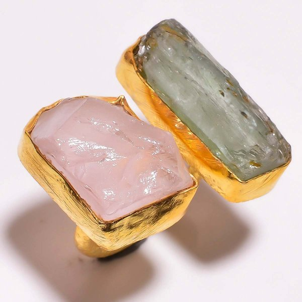 Green Kyanite Rose Quartz Raw Gemstone 925 Sterling Silver Gold Plated Ring Size 5.5 Adjustable