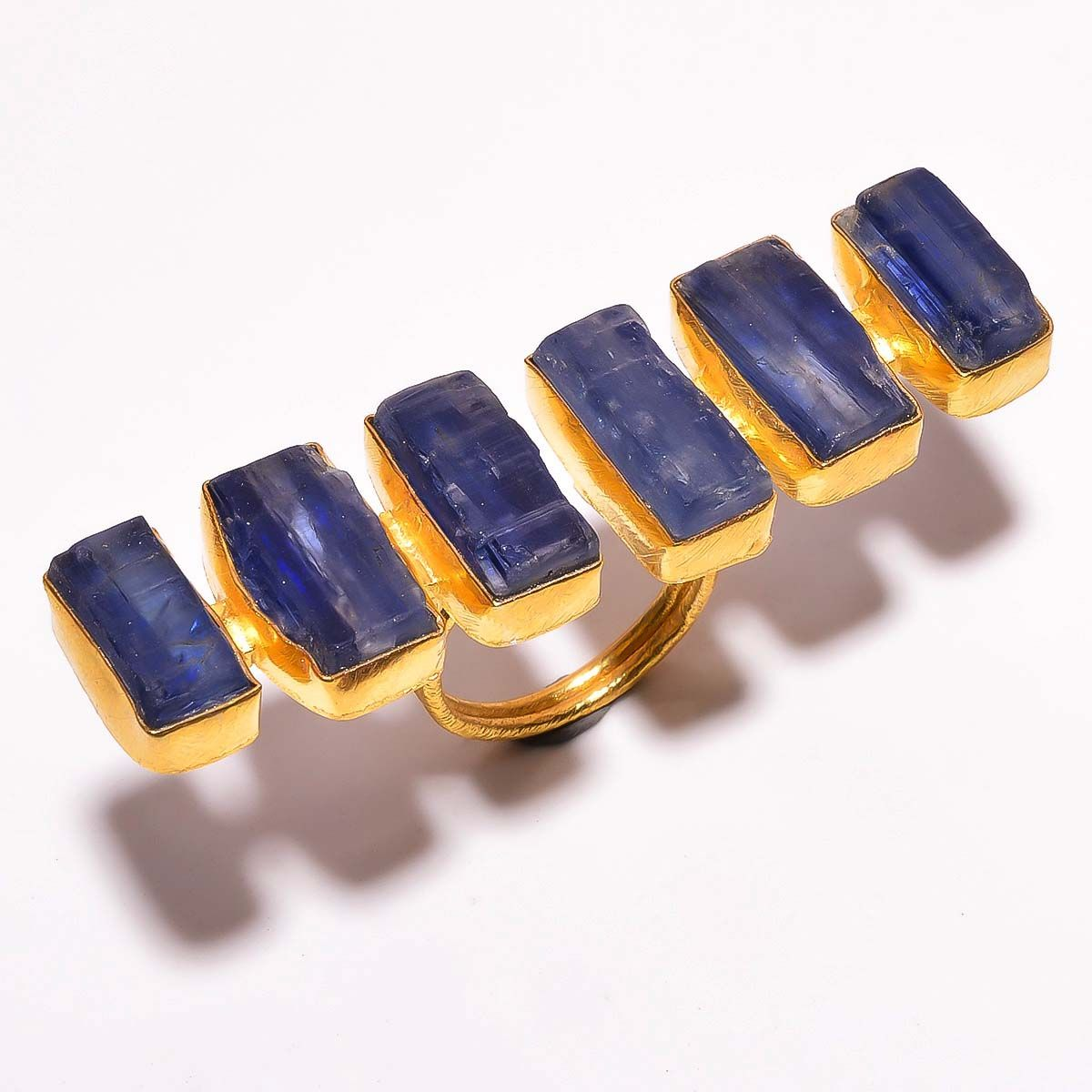 Kyanite Raw Gemstone 925 Sterling Silver Gold Plated Ring Size 7 Adjustable